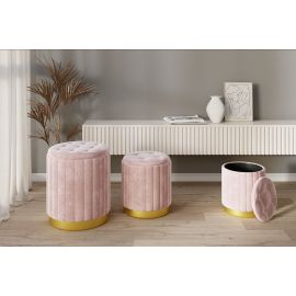 Tilly 3 Pcs. Storage Ottoman Bench Set In Blush / Gold