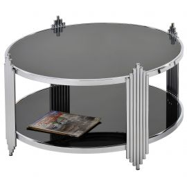 Miles Coffee Table - Chrome/Black