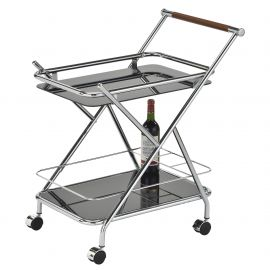 Michelle 2Tier Bar Cart - Chrome/Black
