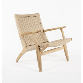 CH25 Easy Lounge Chair - Reproduction - Natural Cord