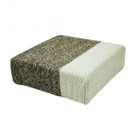 Ira - Handmade Wool Braided Square Pouf | Natural/Snow White | 90x90x30cm
