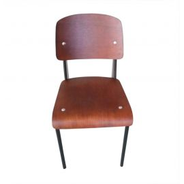Standard Chair - Walnut Seat/Back & Black Frame - Reproduction