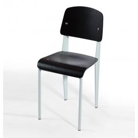 Standard Chair - Black Seat/Back & White Frame - Reproduction