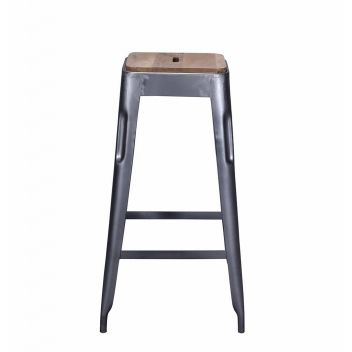Arlette Bar Stool Grey - Iron with Wooden Seat