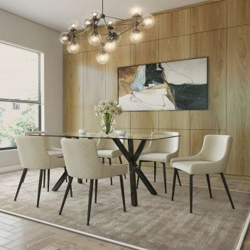Lucy/Anna 7Pc Dining Set - Black Table/Black & Beige Chair