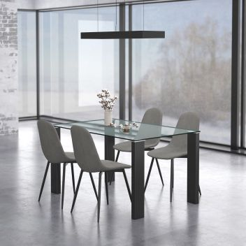 Nathaniel/James 5Pc Dining Set - Black Table/Grey Chair