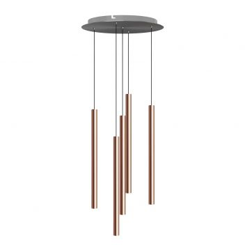 Canalis 5 Light Copper Pendant - Round Canopy