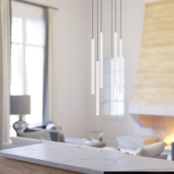 Canalis 6 Light White Pendant - Oval Canopy