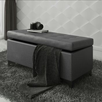 Francis Ottoman Storage Bench In Charcoal