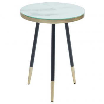 Axel Glass Accent Table - White