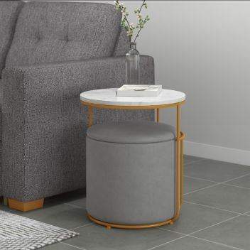 Lydia White Marble Accent Table Storage Ottoman Bench In Grey