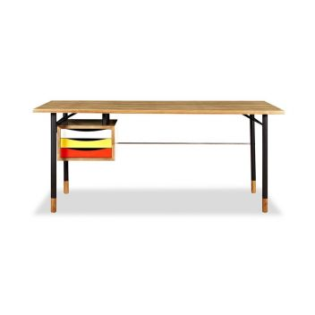 River Desk - Ash/Yellow/Red