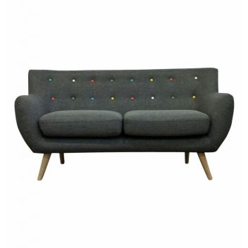 Crew 2-Seater Sofa - Grey (with multicolor buttons)