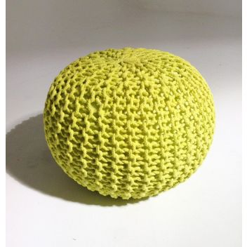 Handmade Round Knitted Pouf | Sunny Lime | 50x35cm