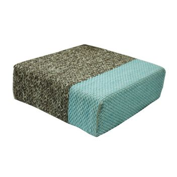 Ira - Handmade Wool Braided Square Pouf | Natural/Pastel Turquoise | 90x90x30cm