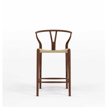 Robert CH24 Y Chair Counter Stool - Walnut & Natural Cord - Reproduction