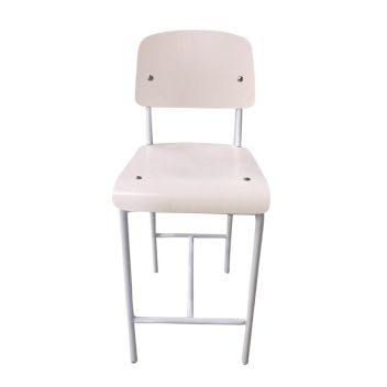 Standard Counter Stool - White Seat/Back & White Frame - Reproduction